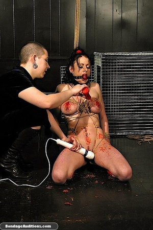 Caged brunette gal likes a rough waxing  - XXX Dessert - Picture 15