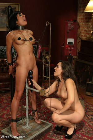 Shaved brunette stuffs her slave with a  - XXX Dessert - Picture 6