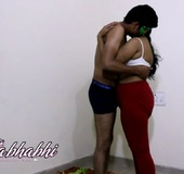 Funny Indian couple with masks has hot copulation in bedroom