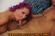 purple-haired latina tranny sucks