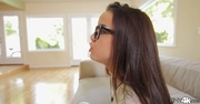 brunette chick glasses gets