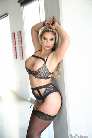 Long haired slut in black lingerie shows - XXX Dessert - Picture 2