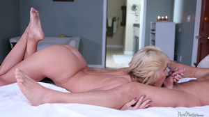 Busty blonde mom gives a footjob and get - XXX Dessert - Picture 3