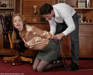 Slender blonde with stockings enjoys in spanking and hard fucking - XXXonXXX - Pic 1