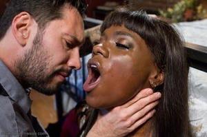 Chocolate beauty enjoys bondage action in her freaky office - XXXonXXX - Pic 6