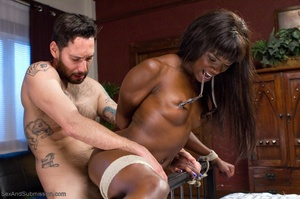 Chocolate beauty enjoys bondage action in her freaky office - XXXonXXX - Pic 12