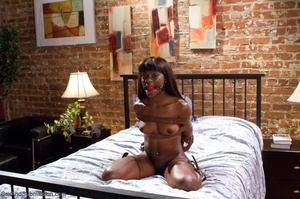 Chocolate beauty enjoys bondage action in her freaky office - XXXonXXX - Pic 16