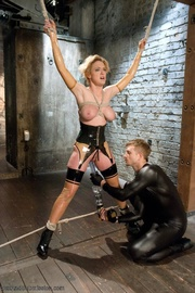 blonde milf latex outfit