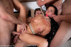 Brunette bitch in a ball gag and rope ge - XXX Dessert - Picture 13