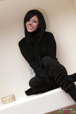 cute babe black cat