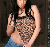 Slim tempting black hair babe in drops top and jeans skirt to suck and