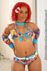 Red haired ebony in multi-colored bikini displays her stunning body outdoor