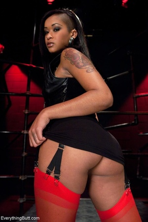 Ebony beauty in red stockings succumbs t - XXX Dessert - Picture 1