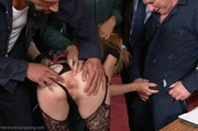 poised blonde's holes hands
