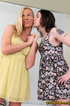 Loose dames-with-weiners in dresses do some oral and foot action on white