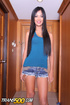 Yummy ladyboy in a blue shirt and denim shorts takes a log up the rear.