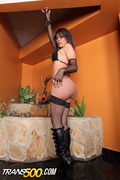 black, boots, lingerie, shemale