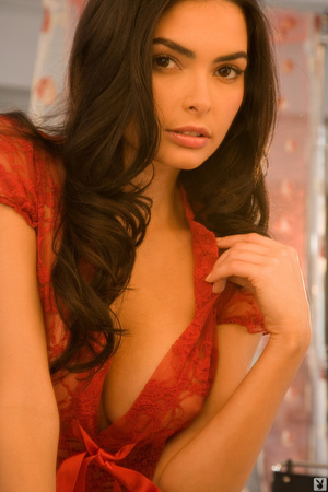 Brunette cutie in red showing off with p - XXX Dessert - Picture 7