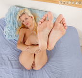 Busty sweet blondie feet licked, banged and works dick with feet and mouth