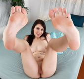 Busty brunette in blue gets cunt and feet licked, then sucks and fuck