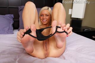 curvy blonde black panties