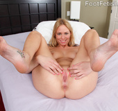 Wide ass blonde maid in black fucked hard, feet licked and gives footsie