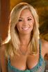 smiling blonde model shows