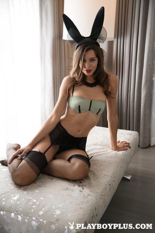 slender brunette bunny stockings