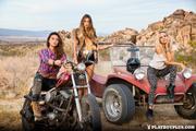 three young biker chicks