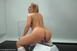 blonde, butt, drilled, fucking machines