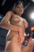 boobs, brunette, drilled, fucking machines