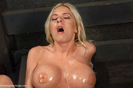 busty, fucking machines, lady, oiled