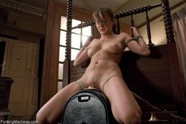 brunette, fucking machines, pussy, tied up