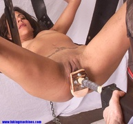 brunette, fucking machines, lady, tied up