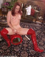 ginger woman red boots