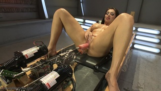 brunette, fucking machines, natural tits, tits