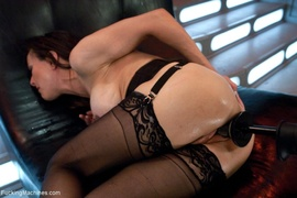 brunette, fucking machines, lady, stockings
