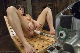 brunette, fucking machines