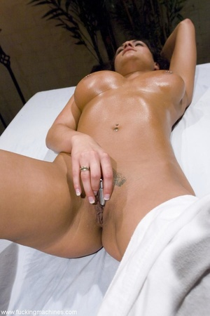 Busty brunette lady enjoys in a sexy mas - XXX Dessert - Picture 3