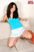 Charming Asian brunette in blue top and short skirt shows tits, ass and