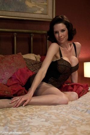 Brunette MILF gal in sexy lingerie drill - XXX Dessert - Picture 1