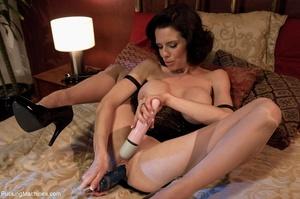 Brunette MILF gal in sexy lingerie drill - XXX Dessert - Picture 4