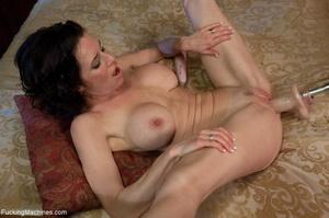 Brunette MILF in white lingerie playing  - XXX Dessert - Picture 1