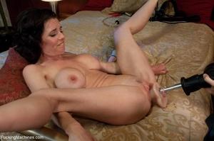 Brunette MILF in white lingerie playing  - XXX Dessert - Picture 2