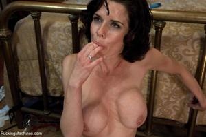 Brunette MILF in white lingerie playing  - XXX Dessert - Picture 18