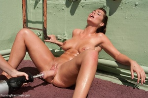 Brunette lady with a natural body using  - XXX Dessert - Picture 12