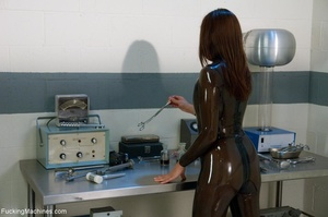 Brunette takes off her latex outfit and  - XXX Dessert - Picture 2