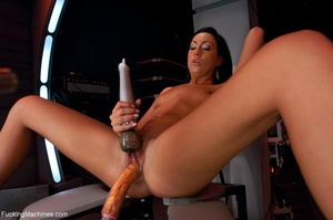 Dark haired lady with a curvy body using - XXX Dessert - Picture 3
