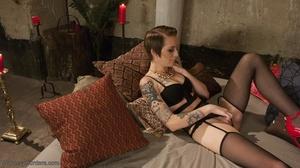 Busty tranny in a striking red bra bones - XXX Dessert - Picture 6
