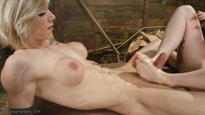 Boot-licking bitch sucks a blonde tranny - XXX Dessert - Picture 15